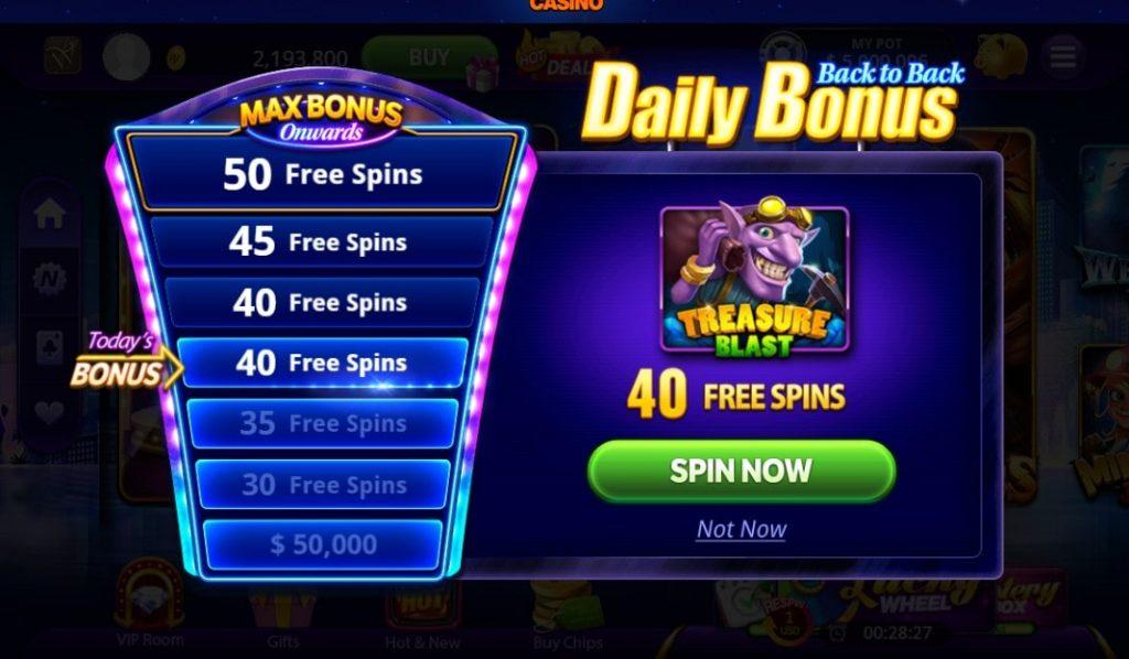 Daily Bonuses of DoubleU Casino on Facebook