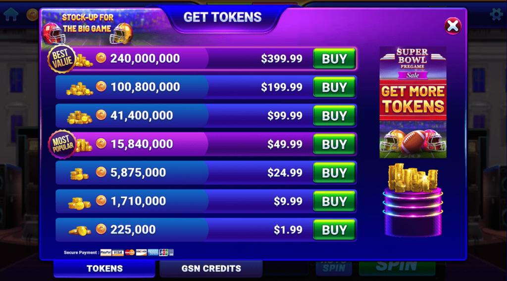 GSN Casino Tokens Shop